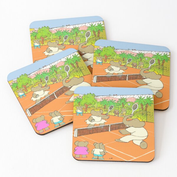 A game of tennis with Babar ... Coasters (Set of 4)