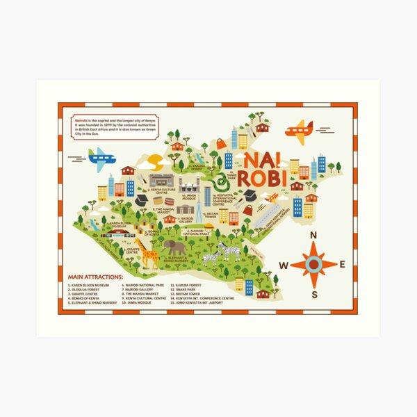 Nairobi Map Art Print