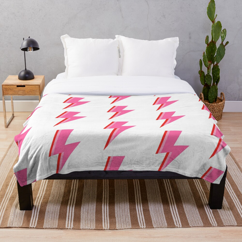 Pink and Red Striped Lightning Strike Throw Blanket