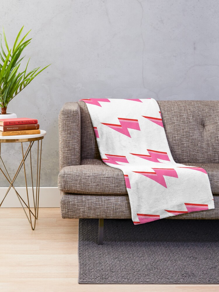 Alternate view of Pink and Red Striped Lightning Strike Throw Blanket