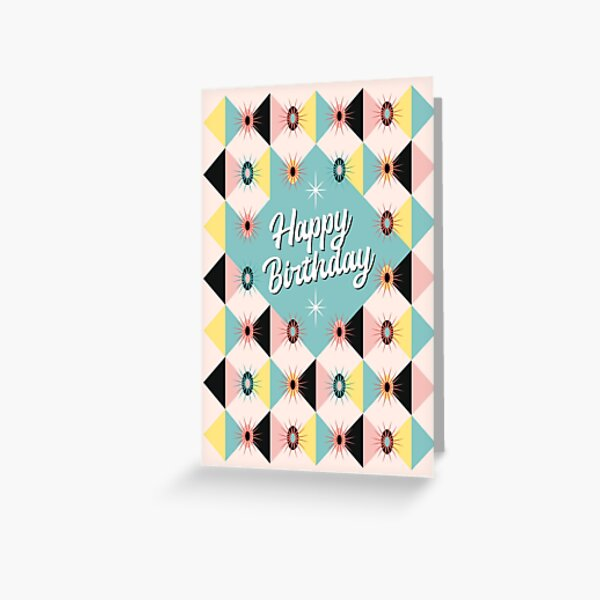 Happy Birthday - Atomic Sunburst Blocks Mint Greeting Card