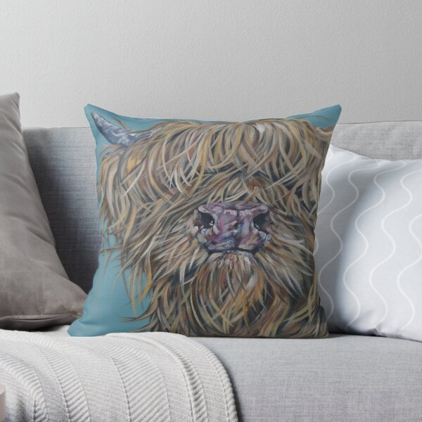 Chummy McGummy. Highland cow, Heilan Scottish coo art by award-winning UK artist Sam Fenner Throw Pillow