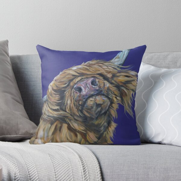 Moos Like Jagger. Highland cow, Heilan Scottish coo art by award-winning UK artist Sam Fenner Throw Pillow