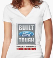 Built Ford Tough PowerStroke Diesel Women's Fitted V-Neck T-Shirt