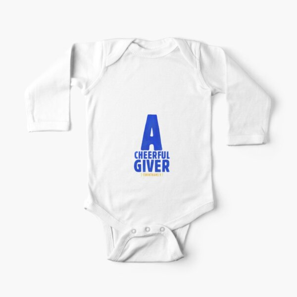A cheerful giver - 2 Corinthians 9:7 Long Sleeve Baby One-Piece