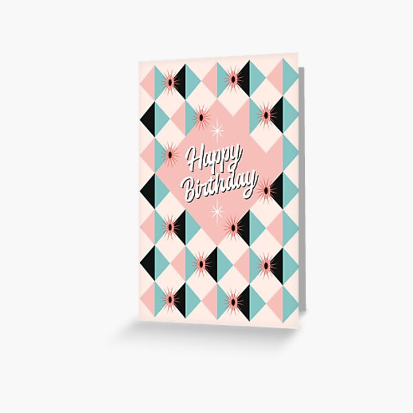 Happy Birthday - Atomic Sunburst Blocks Pink Blue Greeting Card