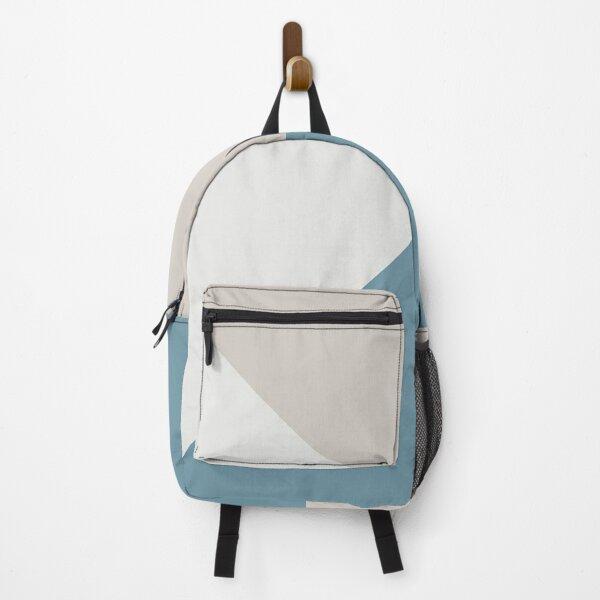 blue White and Grey Simple Scandinavian Geometric Minimalist Backpack