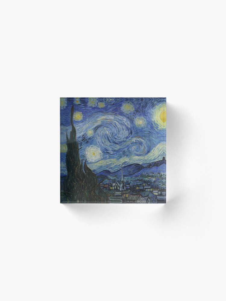 Alternate view of Starry Night Oil painting by Vincent van Gogh Acrylic Block