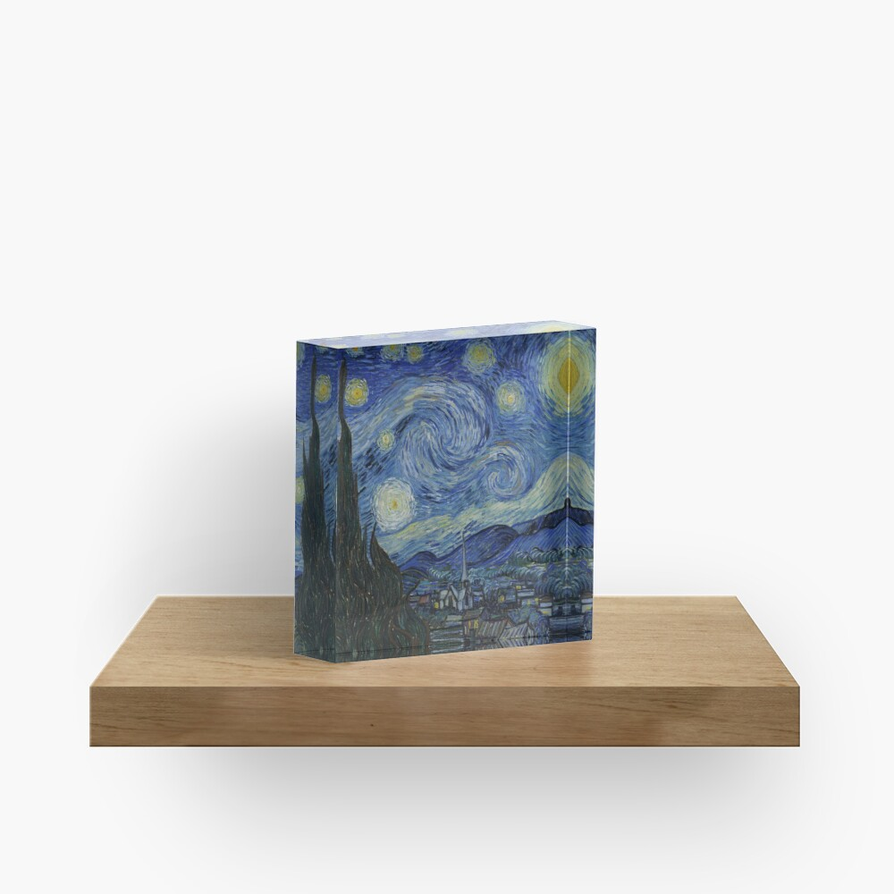 Starry Night Oil painting by Vincent van Gogh Acrylic Block