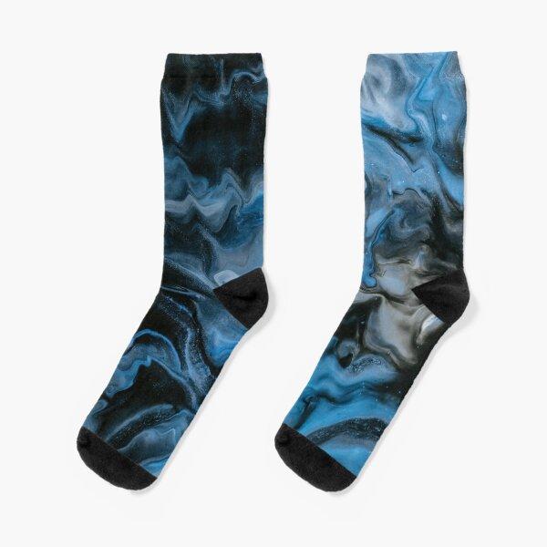 Dark blue flowing project Socks