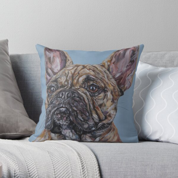 Le Woof Woof. French bulldog, dog painting art by award-winning UK artist Sam Fenner Throw Pillow