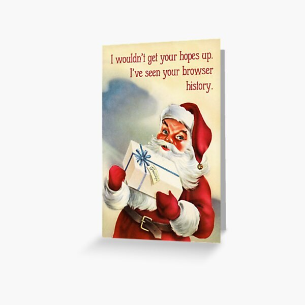 Browser History - Funny Vintage Christmas Card Greeting Card