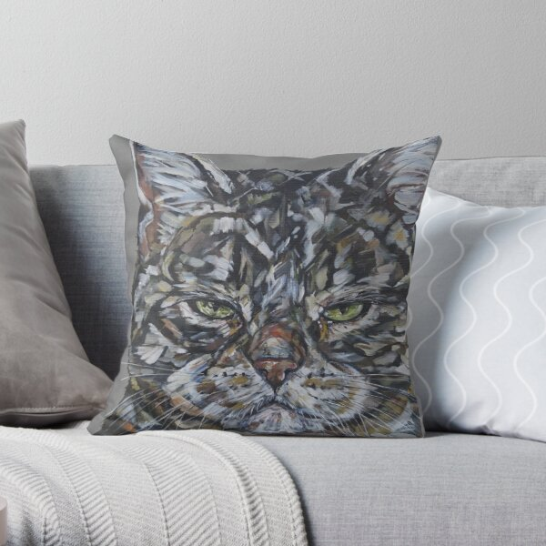 Cattitude. Cat painting art by award-winning UK artist Sam Fenner Throw Pillow