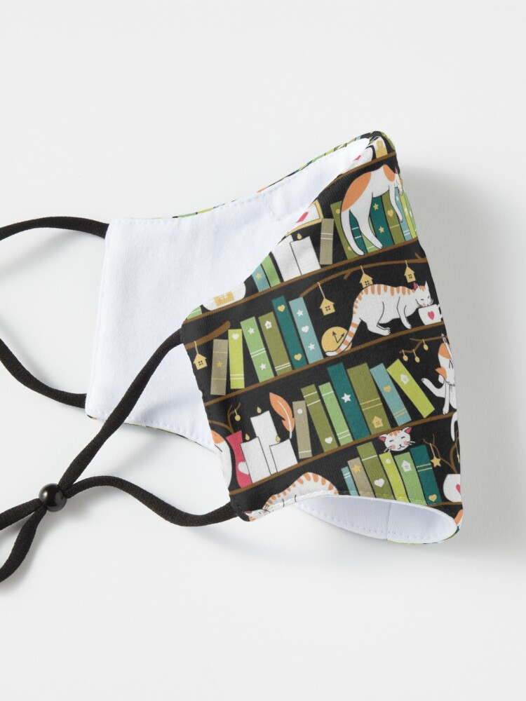 Alternate view of Library cats - whimsical cats on the book shelves  Mask