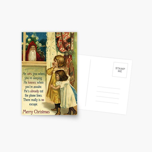 He Sees You When You're Sleeping - Funny, Mean Vintage Christmas Card Postcard