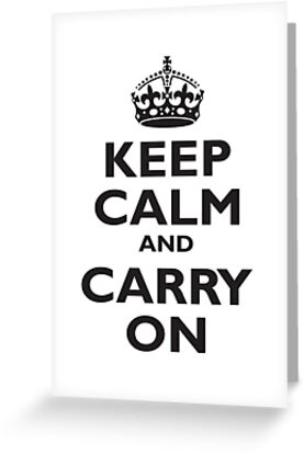 KEEP CALM, & CARRY ON, BE BRITISH, BLIGHTY, UK, WWII, PROPAGANDA, IN BLACK by TOM HILL - Designer