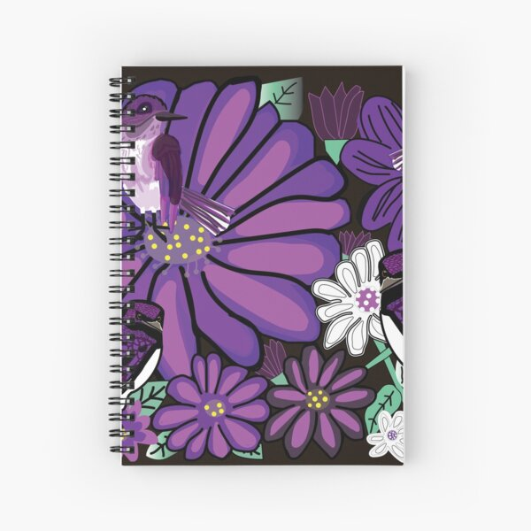 Purple birds and Asters Flowers Spiral Notebook