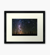 Star Trails over Atacama Desert Cacti Framed Print