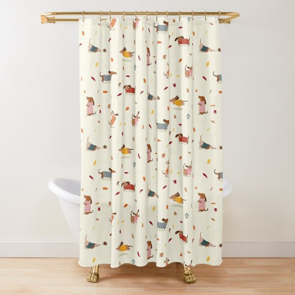 Dachshunds in  Sweaters Pattern Shower Curtain