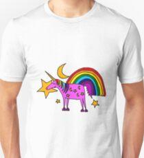 Funny Cool Unicorn and Rainbow and Stars Art Unisex T-Shirt