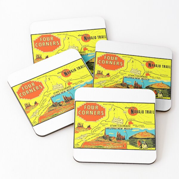 Four Corners Monument Vintage Travel Decal Coasters (Set of 4)