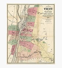 Map of Troy, West Troy & Green Island New York (1874) Photographic Print