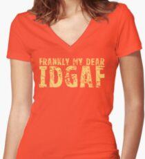 IDGAF Women's Fitted V-Neck T-Shirt