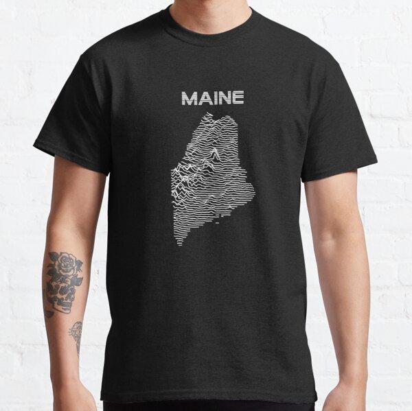 Maine - Retro Minimalist Lines Topographic Map Classic T-Shirt