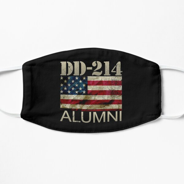 DD-214 Alumni Military Veteran Vintage American Flag Flat Mask