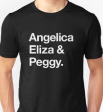 Helvetica Angelica Eliza und Peggy (Weiß auf Schwarz) Slim Fit T-Shirt