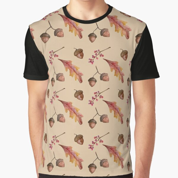 Watercolor Fall pattern with Oak Leaves and Acorns Graphic T-Shirt