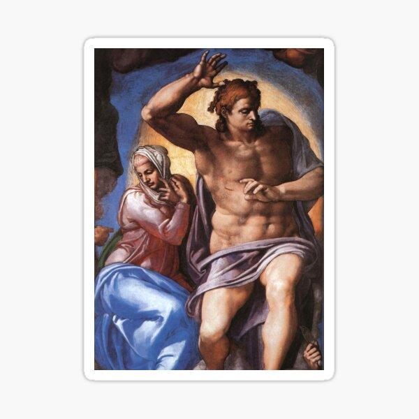 Mary and Christ Michelangelo Fresco Masterpiece famous artist Sticker