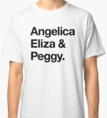 Helvetica Angelica Eliza and Peggy (Black on White) Classic T-Shirt