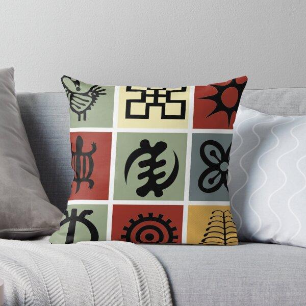 Ghanaian Adinkra Symbols Throw Pillow