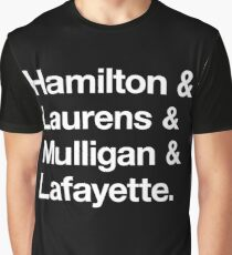 Helvetica Hamilton and Laurens and Mulligan and Lafayette (White on Black) Graphic T-Shirt