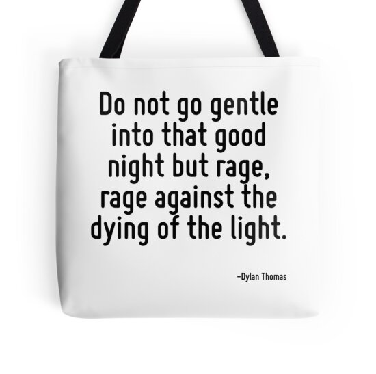 "Do Not Go Gently Into That Night Rage Rage Against Your: ""Do Not Go Gentle Into That Good Night But Rage, Rage"