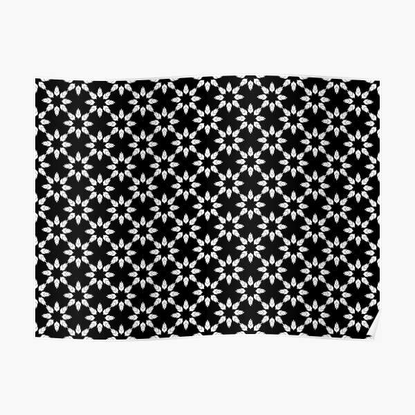 Black and White Floral Pattern Poster