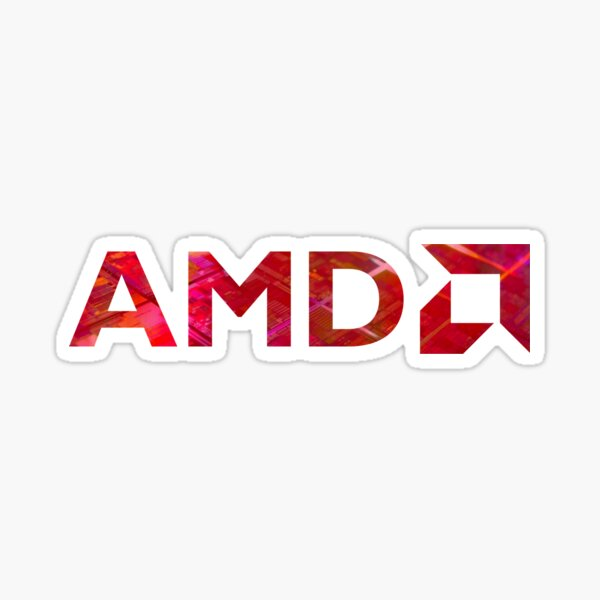 Red AMD Over Silicon Wafer Sticker