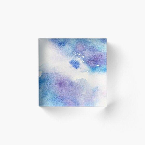 Liquid Art in Lavender and Blue Acrylic Block
