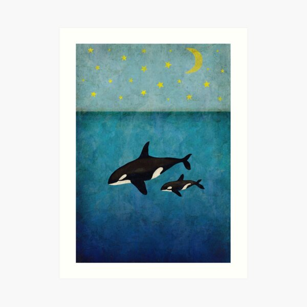 Whales at night Art Print