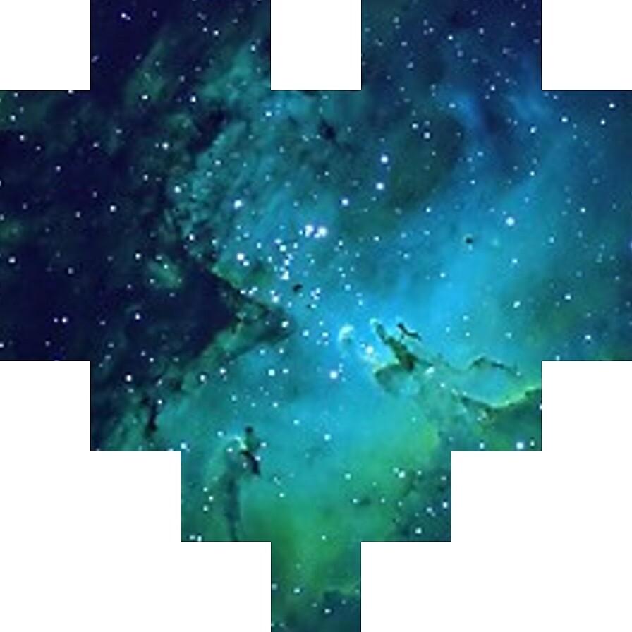 "Broken Pixels: Galaxy Pixel Heart"" By ABrokenPixel"