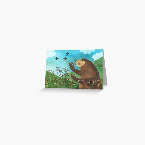 Bear eats hawthorn Greeting Card