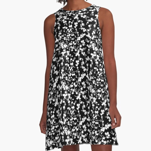 Blooming flowers in branches silhouette pattern A-Line Dress