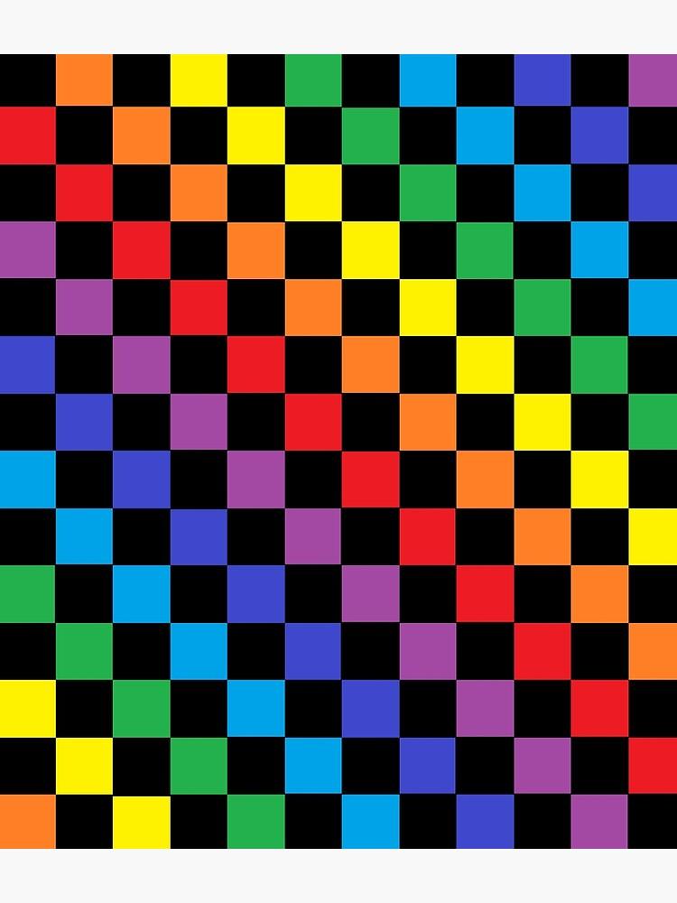 Checkered Rainbow Black  by lornakay