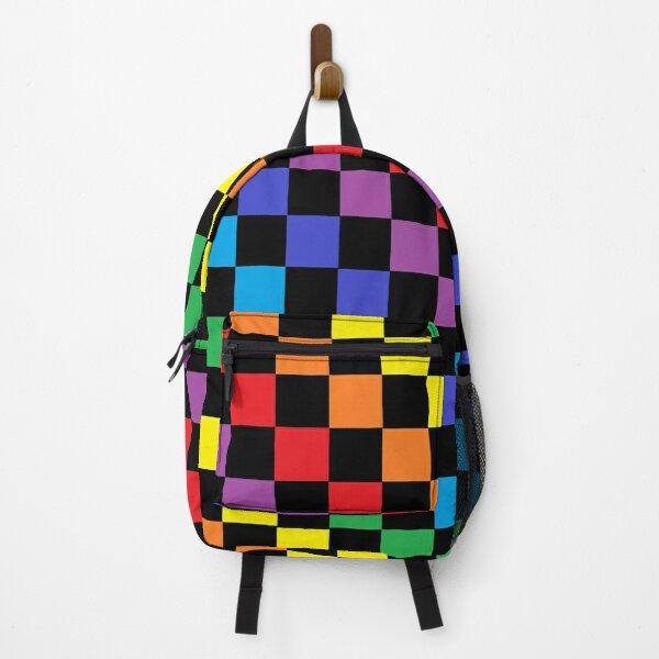 Checkered Rainbow Black  Backpack