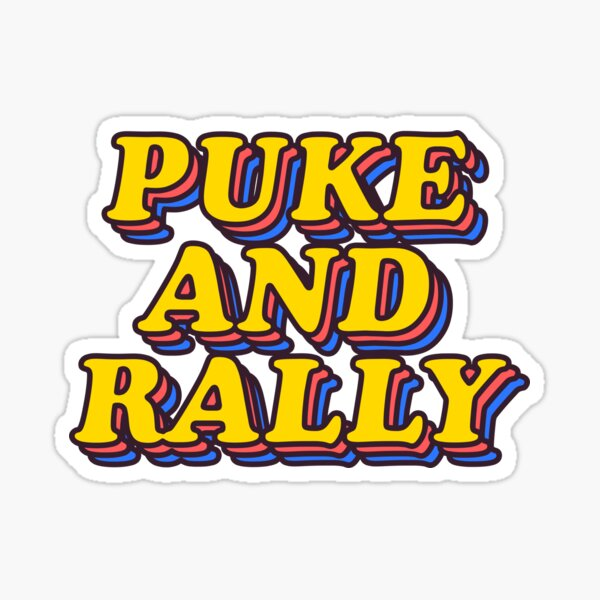 Puke And Rally SUmmer College Party Sticker