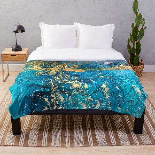 Bright gold and turquoise abstract Throw Blanket
