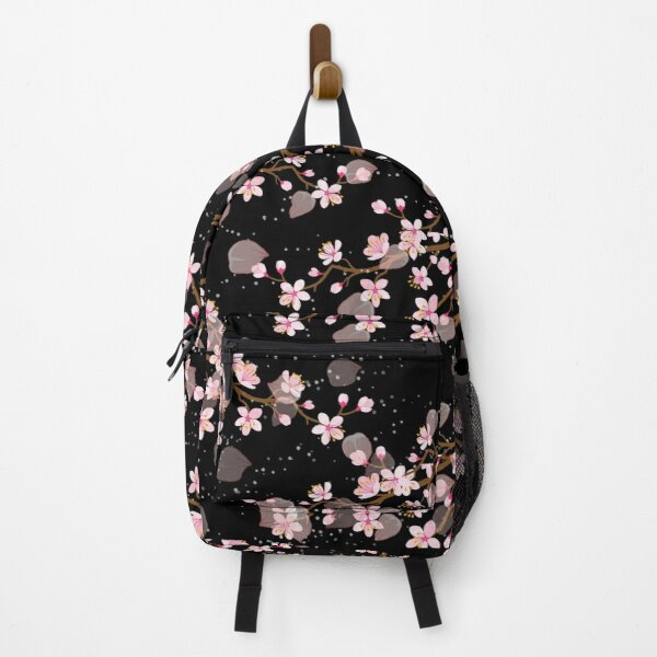 White and Pink Japanese Cherry Blossom Floral Seamless Repetition pattern on Black  Backpack