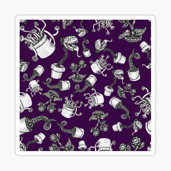 Purple Haunted Garden Plants Pen and Ink Pattern Sticker