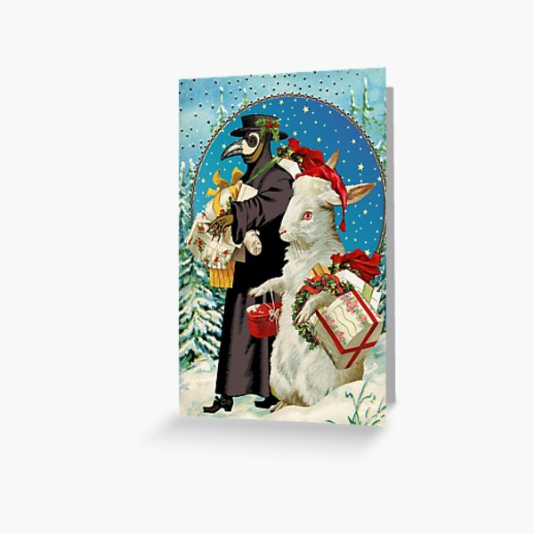 Merry Christmas 2020 Plague Doctor and White Rabbit Greeting Card